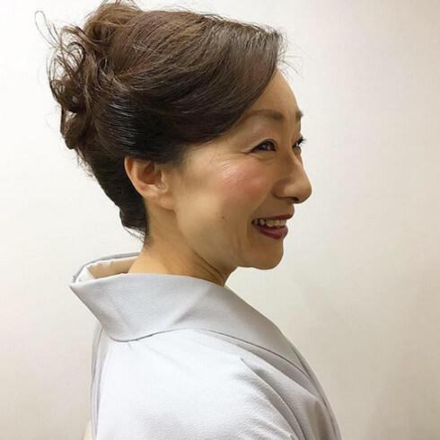 ピシッとした日本髪風にアレンジ  お着物に合わせた髪結い